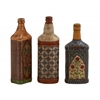 Benzara Uniquely Conceived Glass Painted Bottle Set Of 3
