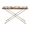 Benzara Distinctive Stainless Steel Teak Console Table