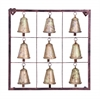 Benzara Metal Bell Square Wall Plaque With 9 Bells And Rustic Look