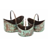 "Benzara Metal  Planter Set/3 15"",13"",11""W Patio Accents"