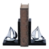 Benzara Versatile Style Aluminum Sailboat Bookend With Worn-Out Look