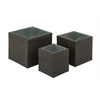 Benzara Graceful Set Of Three Metal Pe Rattan Planter