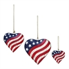 Fashionable Metal Heart, Red, Blue And White, Set Of 3