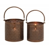Benzara Stunning Metal Candle Lantern Set Of 2