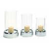 Benzara The Beautiful Set Of 3 Aluminium Glass Candle Holder