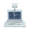 Benzara Nickel Plated Table Clock With Three Tiered Base