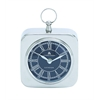 Benzara Nickel Plated Table Clock With Modern Detailing