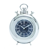 Benzara Nickel Plated Table Clock With Roman Numerals