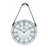 Benzara Metal Hanging Wall Clock With Attached Rope Fitted With Leather Straps (Large)