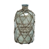 Benzara Glass Jute Bottle Polished Surface With A Silver Coat