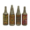 Benzara Terracotta Bottles Set Of Four With Beautiful Floral Hand Paintings
