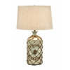 Benzara Tinted Glass Table Lamp With Netted Jute
