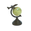 Benzara Aluminium Globe With Metal Aircraft On Top
