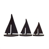 Smart, Natural Wood, Brass, Set Of Three Wood Brass Boat