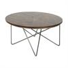 Charming Metal Wood Coffee Table, Natural Brown