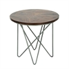 Captivating Metal Wood Side Table, Grey