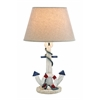 Benzara Wooden Anchor Table Lamp With An On/Off Switch In White Shade