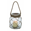 Benzara Jute Rope Netted Glass Jar Candle Lantern With A Sturdy Rope Handle