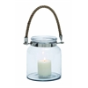 Benzara Stylish And Exquisite Glass Metal Lantern With A Sturdy Rope Handle