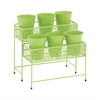 Benzara Attractive Styled Metal 2 Tier Plant Stand Green