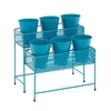 Attractive Styled Metal 2 Tier Plant Stand Blue