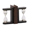 Fabulous Wood Glass Black Timer Bookend Pair, Black