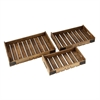 Ravishing Wood Metal Tray, Natural Wood, Set Of 3