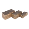 Durable, Natural Wood, Set Of Three Wooden Boxes