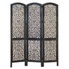 Benzara Wood 3 Panel Screen Decently Carved With Leaf Design