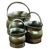 Metal Planter S/3 With Antique Metal Finish