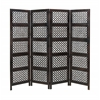 A Stylish 4 Hinged Wood 4 Panel Screen