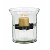 Benzara Glass Metal Candle Holder Clear Glass Case