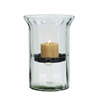 Benzara Glass Metal Candle Holder Clear Case On The Outside