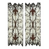 "Elegant Wall Sculpture - Wood Metal Wall Decor Set/2 32""H, 11""W"