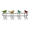 Benzara Metal Wall Hooks With A Quartet Of Colorful Singing Sparrow