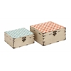 Benzara Colorful And Stylish Square Shaped Set Of Two Boxes