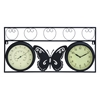 Benzara Sophisticated Metal Clock Thermometer With Stylish Look