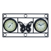 Benzara Clock Thermometer With Bold Metal Butterfly Motif