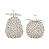 "Attractive Metal Bead Apple Pear Set Of 2 5""W, 7""H"