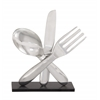"Elegant Aluminum Wood Utensil Decor 13""W, 17""H"