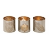 "Benzara Extraordinary Metal Leaf Votive Holder Set Of 3 3""W, 3""H"