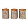 "Attractive Metal Buddha Votive Holder Set Of 3 3""W, 3""H"