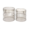 Smart, Chrome Silver, Set Of Two Stainless Steel Marble Accent Tables