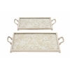 "Benzara Attractive Aluminum Mosaic Tray Set Of 2 20""W, 24""W"