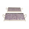 "Benzara Gorgeous Aluminum Mosaic Tray Set Of 2 20""W, 24""W"