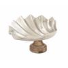 "Aluminum Wood Shell Dish 19""W, 9""H"