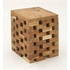 Inventive Teak Square Block Stool, Light Brown