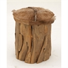 Innovative Wood Hide Leather Stool, Light Brown