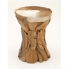 37644 Modern Wood Hide Leather Round Stool, Light Brown