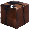 Benzara Wooden Sq Goat Leather Covered Stool In Red With Block Design
